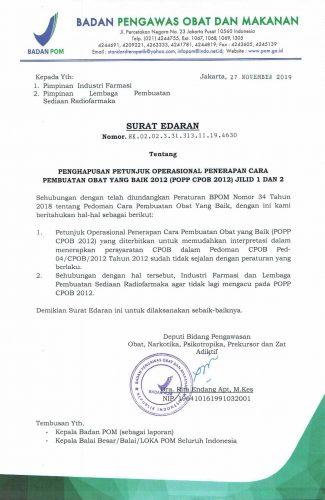 Surat Edaran Penghapusan POPP CPOB 2012 Jilid 1&2