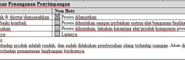 Contoh Justifikasi pada Laporan Penyimpangan Produk